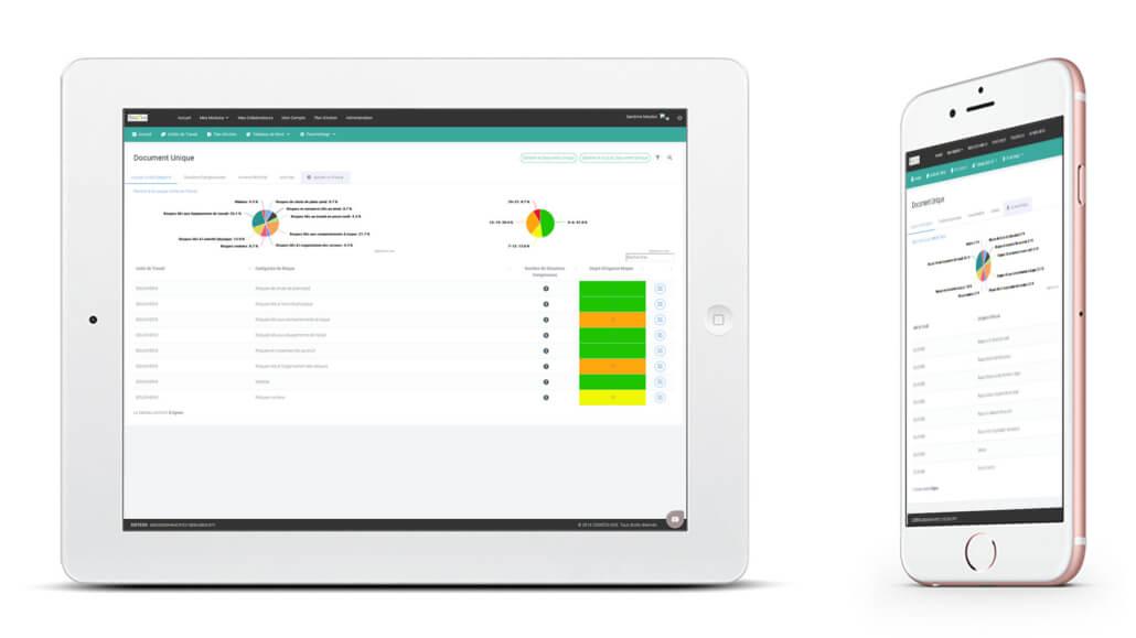 affichage du logiciel document unique qui permets de faire des plans d'action